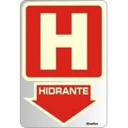 Placa de Sinalização Alumínio HIDRANTE - FOTOLUMINESCENTE - 16 X 23 cm