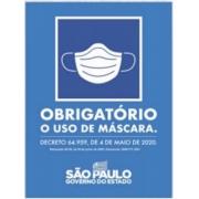 Placa Sinalizadora em Poliestireno 20 X 30 cm - OBRIGATÓRIO USO DE MASCARAS