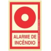 Placa Sinalizadora PVC 13,5 x 20 cm - ALARME DE INCÊNDIO - FOTOLUMINESCENTE
