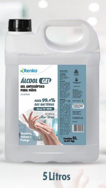Alcool em gel Renko Antisséptico para as mãos 5 litros - 70 INPM