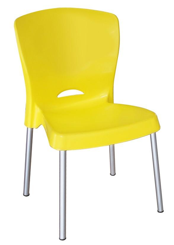 Cadeira Plástica com Pés em Alumínio