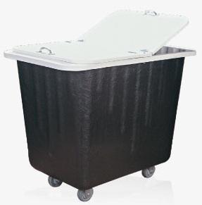 Carrinho coletor em fibra de vidro com Rodízios e com tampa 430 litros  - Reis Lixeiras