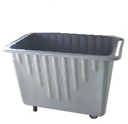 Carrinho coletor em fibra de vidro com Rodízios e SEM tampa 700 litros  - Reis Lixeiras