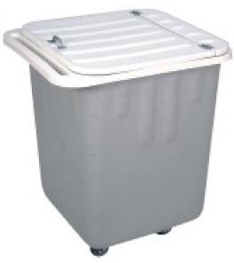 Carrinho coletor em fibra de vidro com Rodízios e tampa 200 litros  - Reis Lixeiras