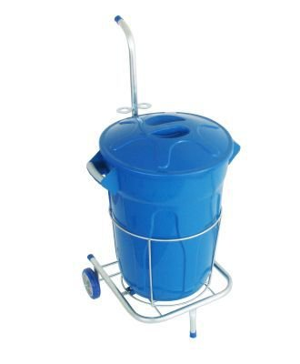 Carrinho funcional com um balde para limpeza 60 litros   - Reis Lixeiras