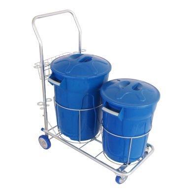 Carrinho funcional dois baldes para limpeza 01 cesto 40 litros 01 cesto 60 litros