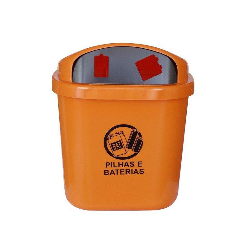 Cesto de coleta seletiva para descarte de pilhas e baterias sem poste 40 litros