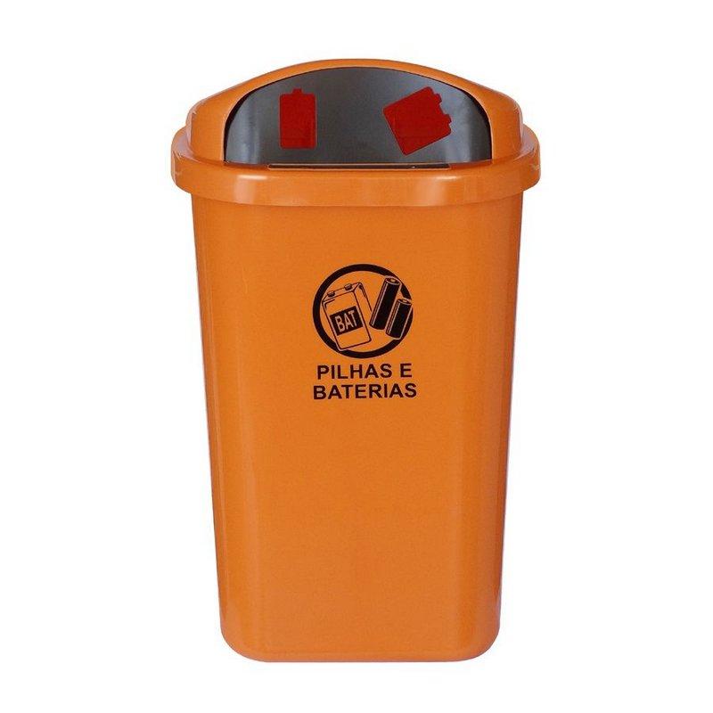 Cesto de coleta seletiva para descarte de pilhas e baterias sem poste na cor laranja  - Reis Lixeiras