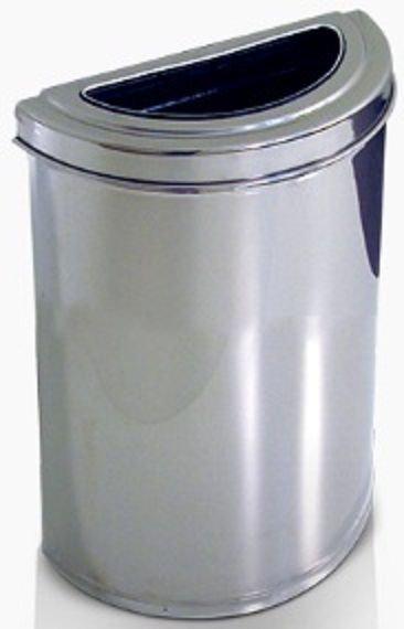 Cesto meia-lua em Aço Inox c/semi aro em Inox 18 litros   - Reis Lixeiras
