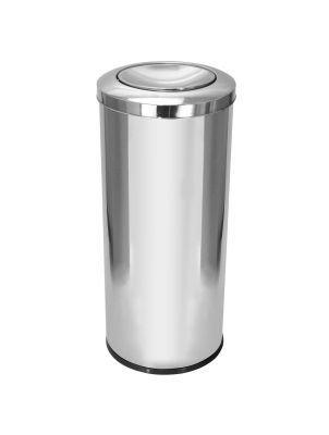 Cesto para lixo em aço inox com tampa meia esfera 50 Litros   - Reis Lixeiras