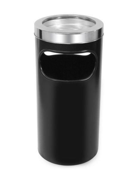 Cinzeiro lixeira em plástico com bandeja em alumínio e aro em aço inox   - Reis Lixeiras