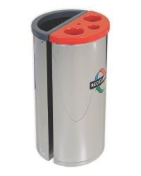 Coletor com divisão para lixo e para descarte de copos descartáveis inox 45 L - 450 Copos
