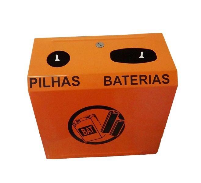 Coletor de descarte de pilhas e baterias em aço carbono 1020 preta e laranja