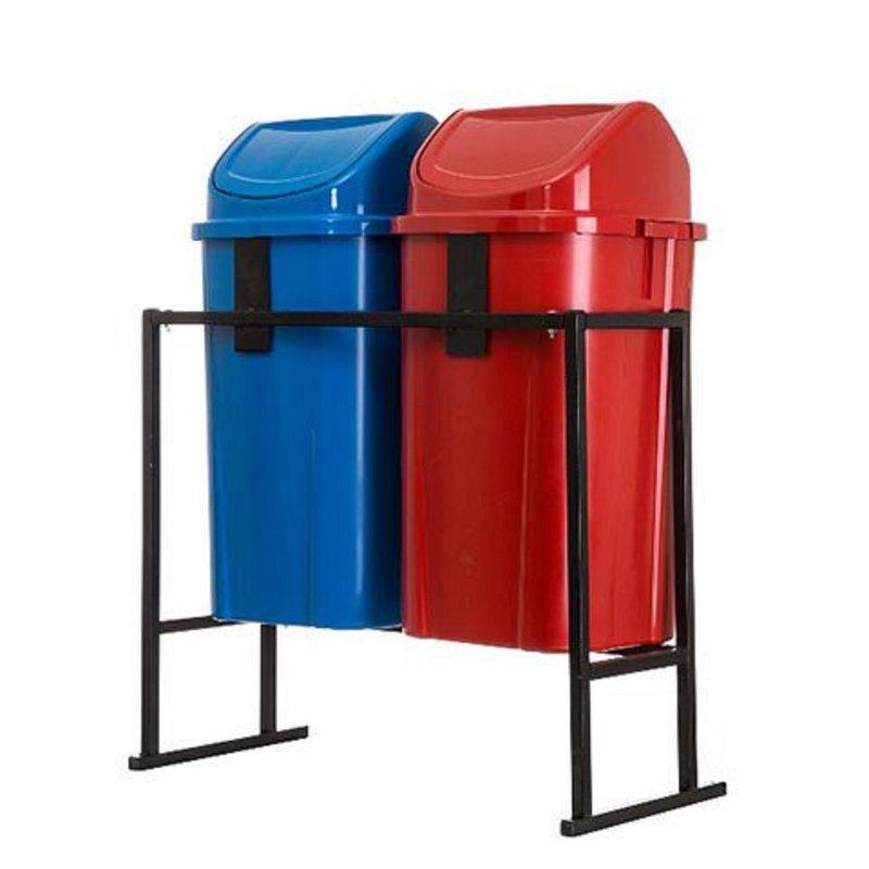 Conjunto de coleta Seletiva 2 cestos tampa basculante