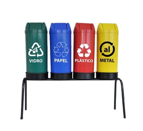 Conjunto de coleta seletiva 4 cestos com tampas vai e vem 22 litros cada
