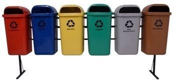 Conjunto de coleta Seletiva 6 Cestos Plasticos 50 litros
