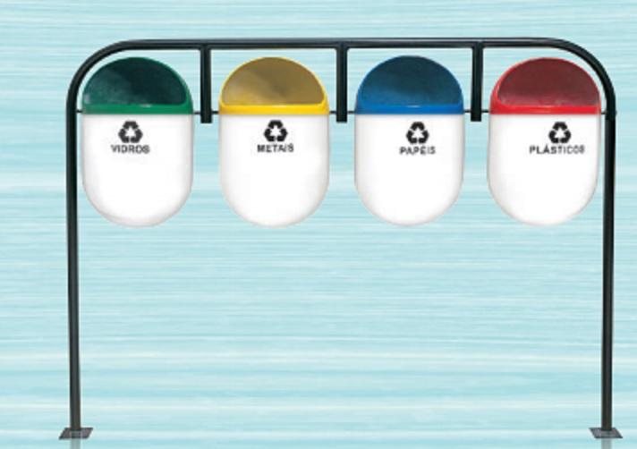 Conjunto de coleta seletiva em fibra de vidro com 4 cestos formato kinder.  - Reis Lixeiras