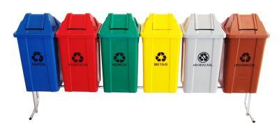 Conjunto para coleta seletiva 06 cestos quadrados com tampa vai e vem 60 litros