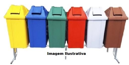Conjunto para coleta seletiva com 06 cestos quadrados com tampa vai e vem 25 litros