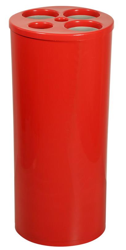 Dispensador de copos usados com 5 tubos para copos de água, de café e palheta.