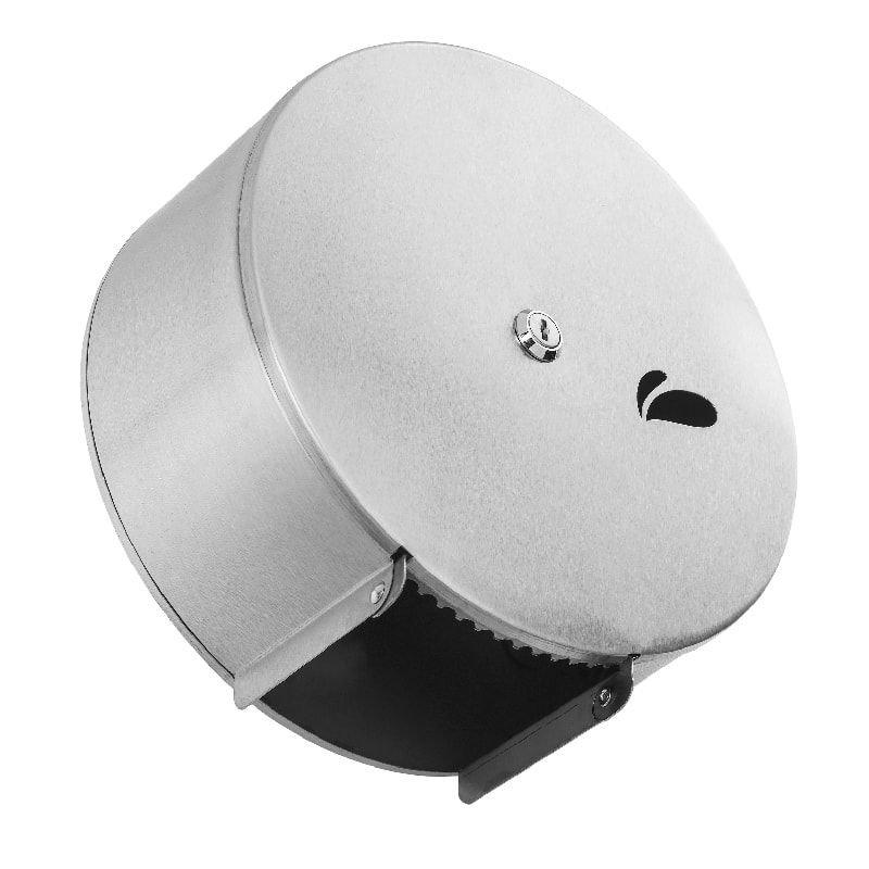 Dispenser para rolo de papel higiênico em aço inox escovado