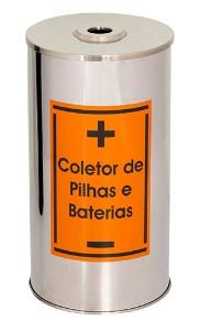 Lixeira de Aço Inox para coletar Pilhas e baterias 50 Litros  - Reis Lixeiras