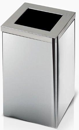 Lixeira de Inox quadrada com tampa Aro 36 litros