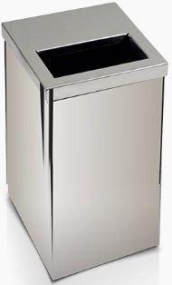 Lixeira em aço inox com tampa vazada metade aberta em Aço inox 100 litros  - Reis Lixeiras