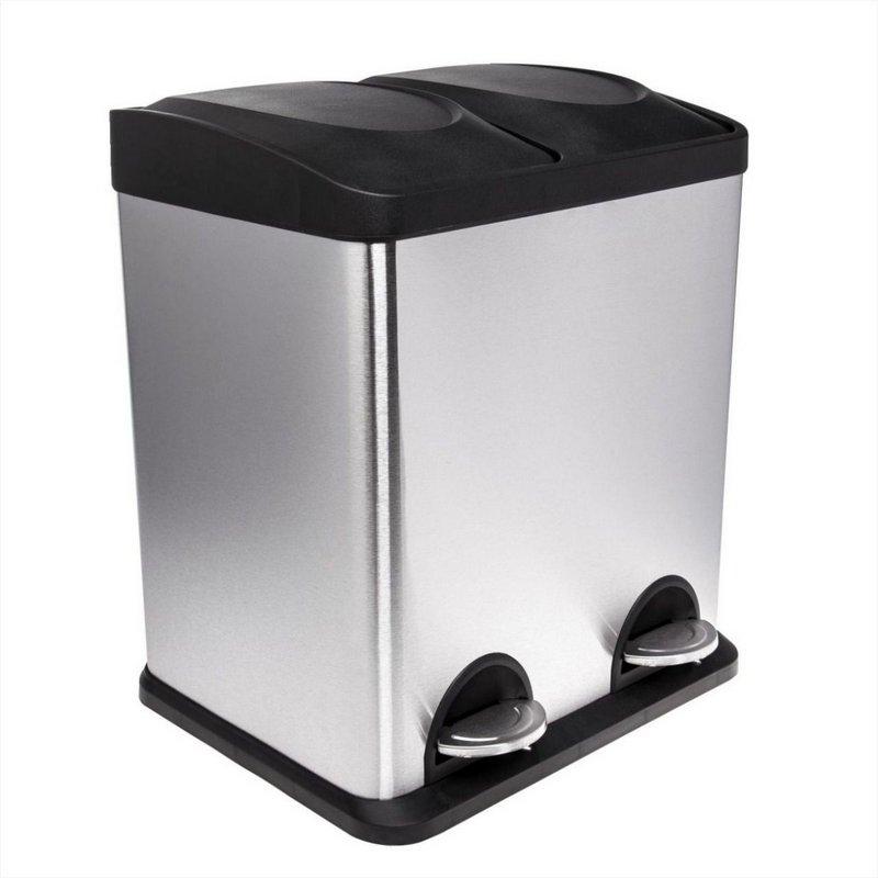 Lixeira em aço inox escovado, com abertura da tampa por pedal e 2 x 15 litros  - Reis Lixeiras