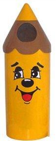 Lixeira em Fibra de Vidro formato lápis pequeno Modelo Carinha  - Reis Lixeiras