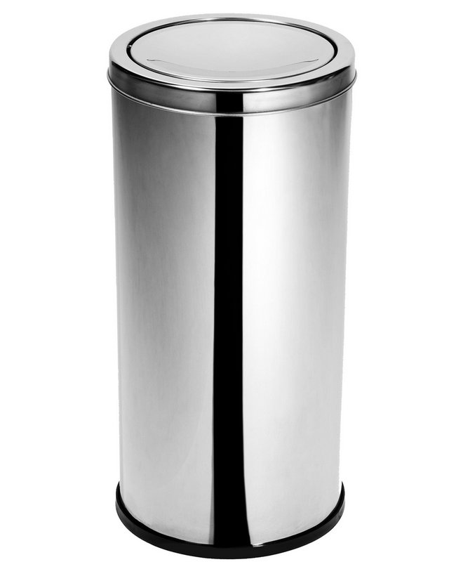 Lixeira Inox com tampa meia esfera 50 Litros   - Reis Lixeiras