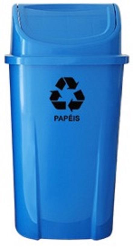 Lixeira plástica com tampa basculante 60 litros  - Reis Lixeiras