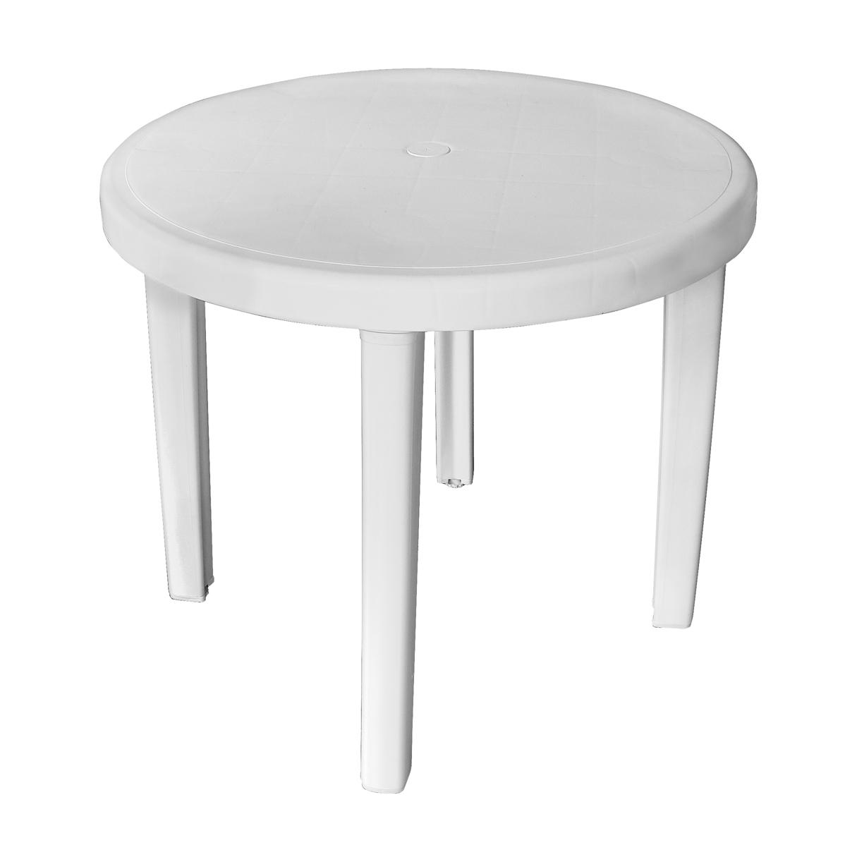 Mesa redonda plástica 4 lugares com pés plásticos