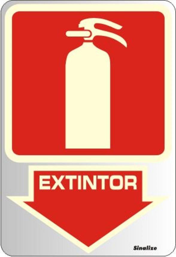 Placa de Sinalização Alumínio EXTINTOR - FOTOLUMINESCENTE - 16 X 23 cm   - Reis Lixeiras