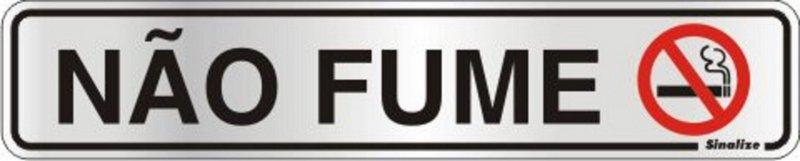 Placa de Sinalização Alumínio NÃO FUME - 5 x 25 cm   - Reis Lixeiras