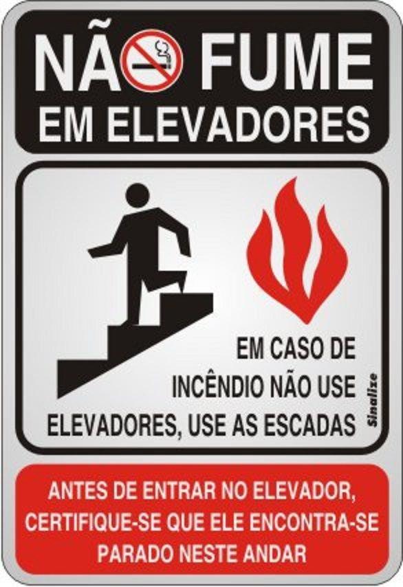 Placa de Sinalização Alumínio NÃO FUME EM ELEVADORES - 16 X 23 cm   - Reis Lixeiras