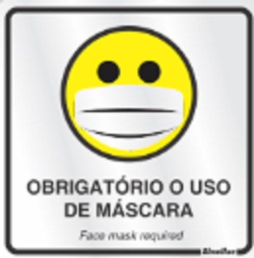 Placa Sinalizadora Alumínio 15 X 15 cm - Dizeres: OBRIGATÓRIO USO DE MASCARA  - Reis Lixeiras