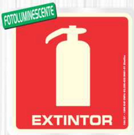 Placa Sinalizadora Alumínio 15 X 15 cm - EXTINTOR FOTOLUMINESCENTE