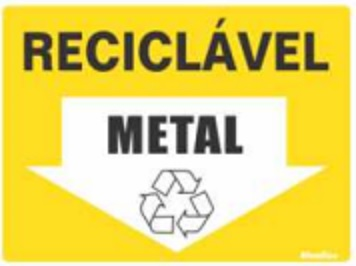 Placa Sinalizadora em Poliestireno 15 x 20 cm - RECICLAVEL METAL  - Reis Lixeiras