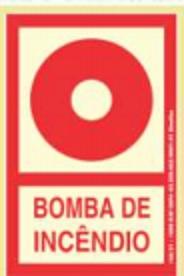 Placa Sinalizadora PVC 13,5 x 20 cm - BOMBA DE INCÊNDIO - FOTOLUMINESCENTE