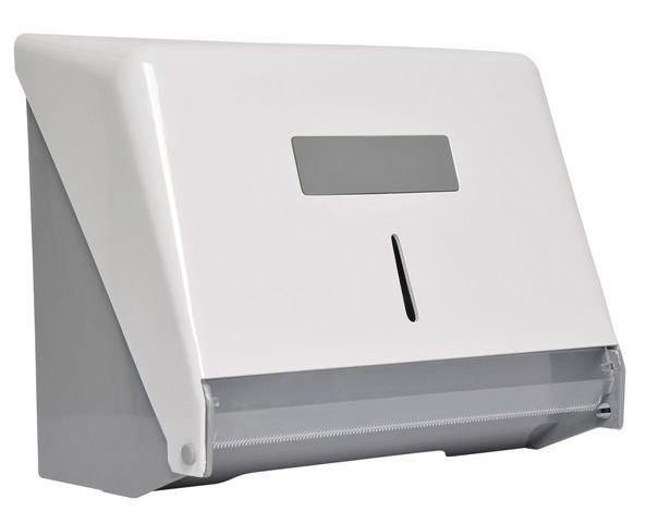 Porta papel bobina injetado com a frente em plástico ABS branco   - Reis Lixeiras