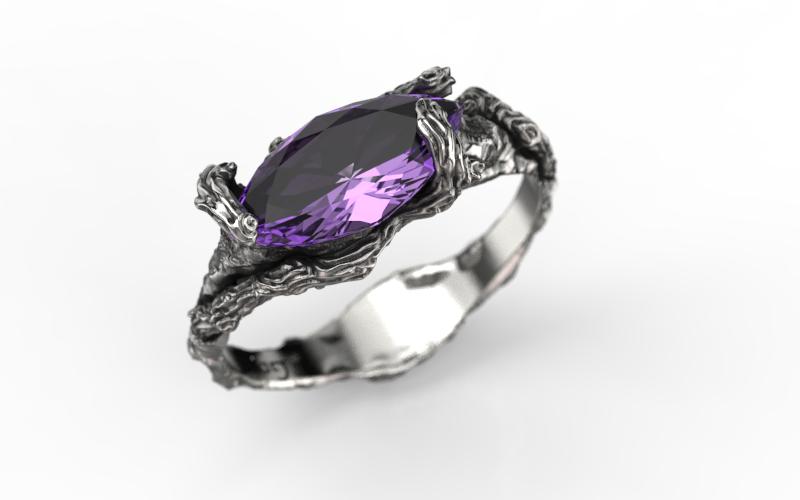 ANEL DIAMOND com AMETISTA (PRATA)