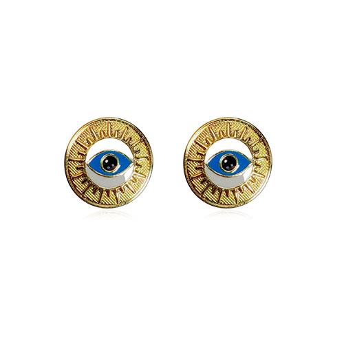 Brinco folheado a ouro com olho grego esmaltado