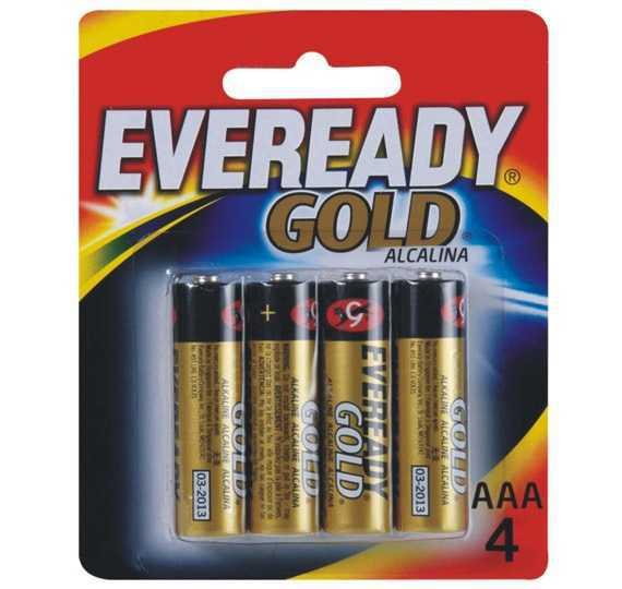 Pilha Palito Alcalina Aaa-4 (C/4Un) Eveready Gold