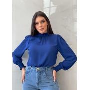 Blusa Azul gola alta manga longa em chiffon