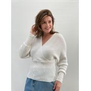 Blusa de Tricot acinturada Off-White