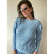 Blusa de tricot bufante Azul bebe
