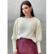 Blusa de tricot bufante creme