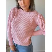 Blusa de tricot bufante Rosa
