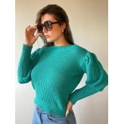 Blusa de tricot bufante verde
